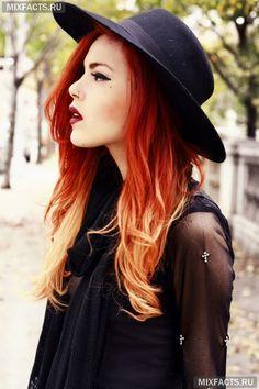 Омбре на рыжие волосы (фото)