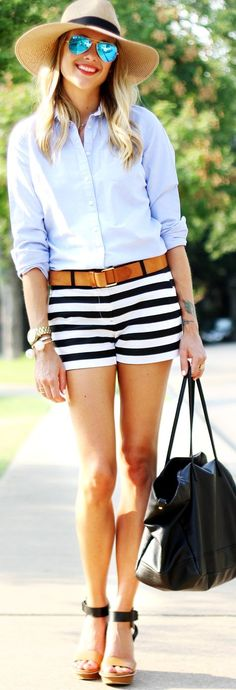 Gap Black And White Stripe Nautical Women's Shorts
