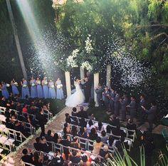 Wedding ceremony, wedding aisle, confetti canon, bridal parties, long bridesmaids dresses, wedding seating