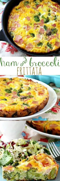 This Broccoli and Ham Frittata is incredibly tasty and easy to make! (gluten-free) This Broccoli and Ham Frittata is incredibly tasty and so easy to throw together! Egg Recipes, Brunch Recipes, Low Carb Recipes, Cooking Recipes, Healthy Recipes, Skillet Recipes, Bacon Recipes, What's Cooking, Recipies