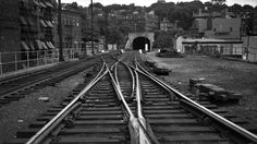Providence, Rhode Island, 1952 Double-slip switch where tracks one and two join at East Side Tunnel in Providence, Rhode Island, in 1952. Photograph by Leo King, © 2016, Center for Railroad Photography and Art. King-06-006-002