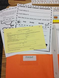 Labeled folders (sign and keep in folder/ take home to read) for back to school night. Parents never pay attention to these things...  Mrs. Terhune's First Grade Site!: Open House!
