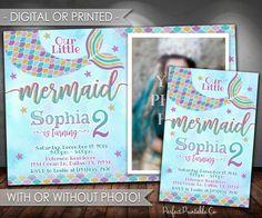 Mermaid Birthday Invitation, Mermaid Invitation, Mermaid Birthday Party Invitation, Mermaid Invite, Teal Purple Gold, Girl Mermaid Tail #597 by PerfectPrintableCo on Etsy