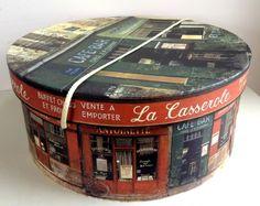 Large Round Hat Storage Boxes French Street Scene