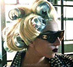 Lady Gaga wearing Chanel sunglasses in the music video Telephone