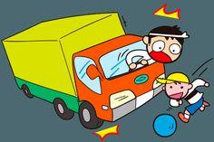 集団登校 集団登校のとき気をつけること 飛び出し危険 車の死角 イラスト