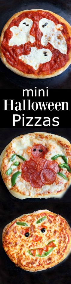 Easy mini Halloween Pizzas make the perfect Halloween dinner! Kids love this fun halloween meal. | Tastes Better From Scratch