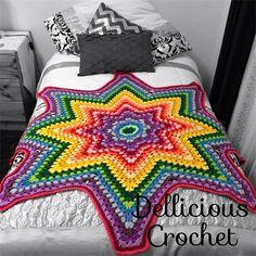 Beautiful handmade crochet granny star throw | Dellicious Crochet | madeit.com.au