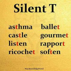 """Silent T Words with silent """"T"""" English Speaking Skills, Advanced English Vocabulary, Learn English Words, English Reading, English Phrases, English Language Learning, English Writing, English Study, English Lessons"""