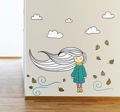 A beautiful wall decal that will add a sweet and delicate touch to your little girl's bedroom. A poetic illustration of a girl who's hair is blowing in an Autumn breeze. #Decoration #WallDecal #Tenstickers