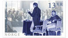Grunnlovsfrimerke - EIDSVOLLSFORSAMLINGEN PÅ ET FRIMERKE: To frimerkekunstnere har tatt utgangspunkt i et utsnitt av Oscar Wergelands maleri Eidsvoll 1814. når de har kreert Postens nyeste frimerker.Posten Norge