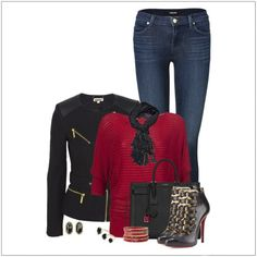 CHATA'S DAILY TIP: The two on-trend items that contribute to this very sexy, elegant look is the black short zipper jacket and the animal trimmed stiletto boots. Opt for a longer jacket and bootleg jeans if you have a fuller body shape. Paint the town red with a gorgeous red silky top and sparkling accessories. COPY CREDIT: Chata Romano Image Consultant, Erika Swanepoel http://chataromano.com/consultant/erika-swanepoel/ IMAGE CREDIT: Pinterest