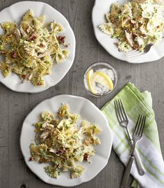Toasted pecans add unexpected warmth and crunch to this creamy pasta dish. Recipe: Creamy Chicken-and-Broccoli Pesto Bow Ties