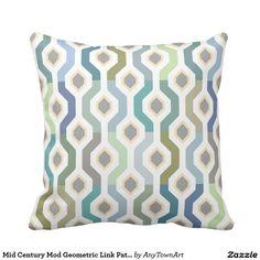 Mid Century Mod Geometric Link Pattern Throw Pillow