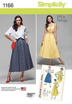 Simplicity 1166 Retro 1950s Full Skirt, Blouse & Bra Top Pattern Size 6-14 | Crafts, Sewing, Sewing Patterns | eBay!