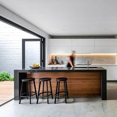 Instagram media by huntingforgeorge - Mighty fine kitchen opening onto a might fine deck. Summer is served! ☀️☀️☀️✔️✔️✔️ Designed by @keenarchitecture 📷 @dionrobeson #kitcheninspiration #interiorinspo #architectureinspiration #australianhomes