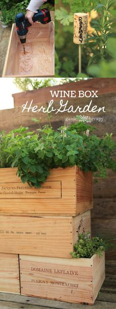Best Diy Crafts Ideas For Your Home : Make a DIY Wine Box Herb Garden