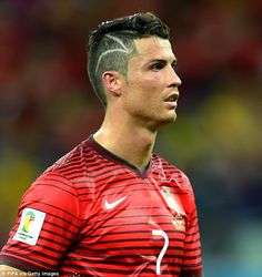 Bizarre: The Portuguese winger showed off his new design for the first time against the US...