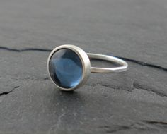 Ocean Blue Ring Silver Hammered Band Nautical by SimplyRiveting, $45.00