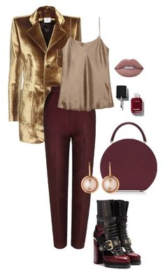 """""""Burgundy & Gold"""" by trend-anonymous on Polyvore featuring Vetements, The 2nd Skin Co., Vince, Burberry, BUwood, Dyrberg/Kern, Chanel and Lime Crime"""