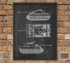 Tiger I Tank Schematic Diagram Wall Art Poster by QuantumPrints Army Decor, Diagram, Neon Signs, Art Prints, Wall Art, Unique Jewelry, Handmade Gifts, Poster, Nest