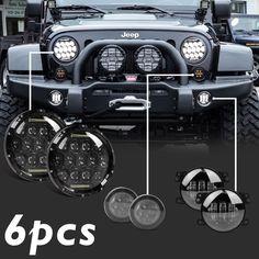 "7'' LED Headlights Amber Signal Turn Light 4"" Fog Lamp Kit for Jeep Wrangler JK | eBay Motors, Parts & Accessories, Car & Truck Parts | eBay!"
