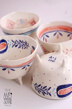 - wedding gift -  4 porcelain cups, hand decorated with high-temperature underglazes and transparent glaze; dishwasher safe