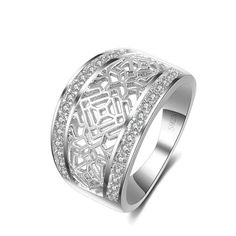 Sterling Silver Artistic Cut Out Design Thick Band Ring Sz 8-10