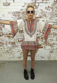 Vintage 70's Hippie Ethnic bell sleeve Tunic Top