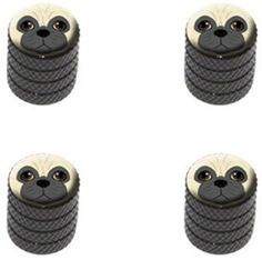 Decorative Bicycle Valve Capss - 4 Count Cool and Custom Diamond Etching Pug Face Top with Easy Grip Texture Tire Wheel Rim Air Valve Stem Dust Cap Seal Made of Genuine Anodized Aluminum Metal Dim Toyota Black and Brown Colors  Hard Metal Internal Threads for Easy Application  Rust Proof  Fits For Most Cars Trucks SUV RV ATV UTV Motorcycle Bicycles >>> Learn more by visiting the image link.