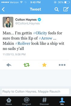 Bahahahahaha I love Olicity. Laurel just isn't suppose to be with Oliver.