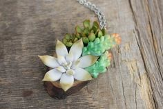 Blue Succulent Necklace Pendant Wooden Basis Medallion Pendant Jewelry Succulent wedding birthday gifts by EtenIren on Etsy