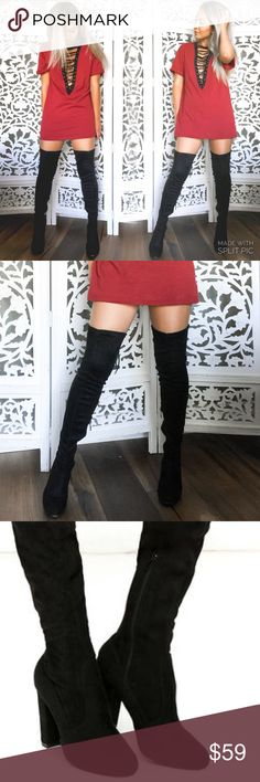 ✨-NIB Over the Knee Boots Suede over the knee boot Back tie at calf opening  Man made material  Inside Zipper half way up from sole  4 in. heel 27 in. Total 8in. Opening  Comfy  Extra heel taps  Man made material  ✨less on Merc.  Please message questions Hapa Clothing  Shoes Over the Knee Boots