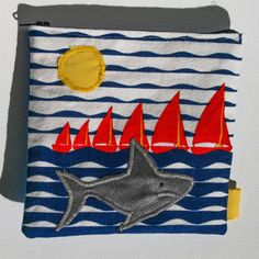 Cute Shark and ships Zipper Pouch, Handmade in Norway, Quality Crafts, Make-up bag, Wallet Cute Shark, Special Makeup, Leftover Fabric, Pencil Pouch, Zipper Pouch, Clothing Patterns, Norway, Handmade Items, Coupon