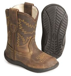 Old West toddlers' crazyhorse boots - Sheplers The bottoms are made like a regular walking shoe, with the look of a boot. Adorable!!