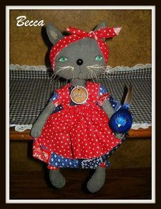 "Rag Doll Cat, ""Cat's Rule DOLLS Pattern"" #159, 2 Sizes, Primitive Pattern, Folk Art, Raggedydays Original Pattern by raggedydays on Etsy"