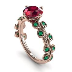 Leaves All Around Ruby Ring - Sydney Leafs All Around Rose Gold Nature Inspired Boho Ruby Engagement Ring - Sydney Engagement Ring Rose Gold, Elegant Engagement Rings, Designer Engagement Rings, Halo Engagement, Disney Engagement Rings, 1 Karat, Ring Rosegold, Ring Verlobung, Mode Vintage