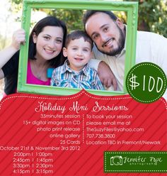 Holiday and Christmas Mini Sessions, Fremont, California and Newark, California Bay Area Photographer.   Christmas Photo Specials, Holiday Photography, Family posing