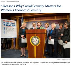 """""""5 Reasons Why #SocialSecurity Matters for Women's Economic Security."""" (click through to read more)"""