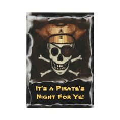Funny Pirate Skull Halloween Party Invitation