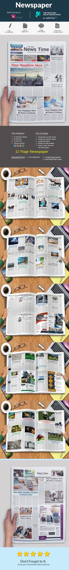 Newspaper  — InDesign Template #daily newspaper • Download ➝ https://graphicriver.net/item/newspaper/18447703?ref=pxcr