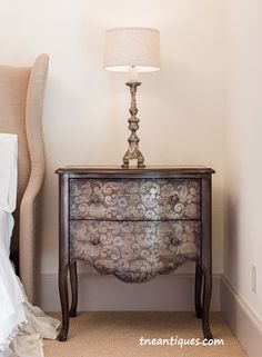 Metallic finishes in the guest bedroom.