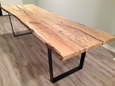 2 Slab Spalted Maple Top Harvest Table with a Black Flat Bar Steel Base.  Reclaimed Rustic Wood Furniture: maple top harvest table.
