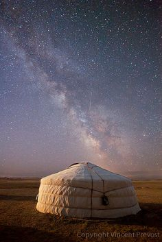 Mongolia :: Ger (tent) and milky way.