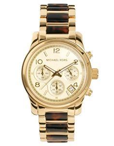 Michael Kors | Michael Kors Tortoiseshell & Gold Chronograph Watch at ASOS --- *GASPS I looovvvee the tortoise shell accent <3