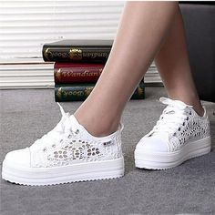 Women's Summer Casual Lace Cutout Canvas Breathable Platform Flat Sneakers In White. Comfy In Design Featuring Mesh Lace Cutout. Get Yours Today!