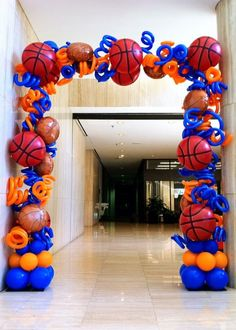 Basketball Themed Square Messy Arch Option. This can be made in any color combination and can even include other sports foils as well. http://www.affairsintheairballoondecorating.com