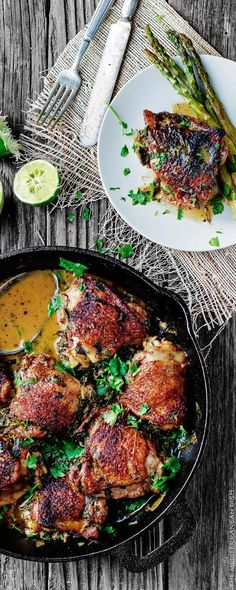 Cilantro-Lime Chicken Thighs Recipe. A great Mediterranean recipe for perfectly flavored, fall-off-the bone tender! This will win your family's heart at the first bite. Check out the step-by-step tutorial from The Mediterranean Dish.