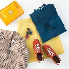 Vintage vibes (with sport shoes) ! #yellow&blue #essentials #flatlay #retrotouch #vintage #fashion #instafashion #colorfull  Jacket Ref FR 8167910 Ref COM 5053587 Blouse Ref FR 8165985 Ref COM 5403553 Skirt Ref FR 8483022 Ref COM 5296650 Basket Ref FR 501318907 Ref COM (in black) 6687938 Bag Ref FR 8482921 Ref COM (only in black) 7725680