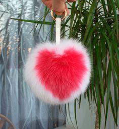 Fur Keychain, Fox Fur Keychain, Heart Keychain, Fur ball, Pom pom keychain,Bag…